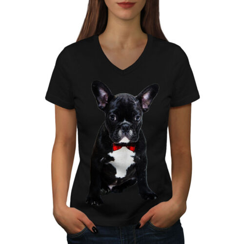 Wellcoda Fancy French Bulldog Womens V-Neck T-shirt Black Graphic Design Tee