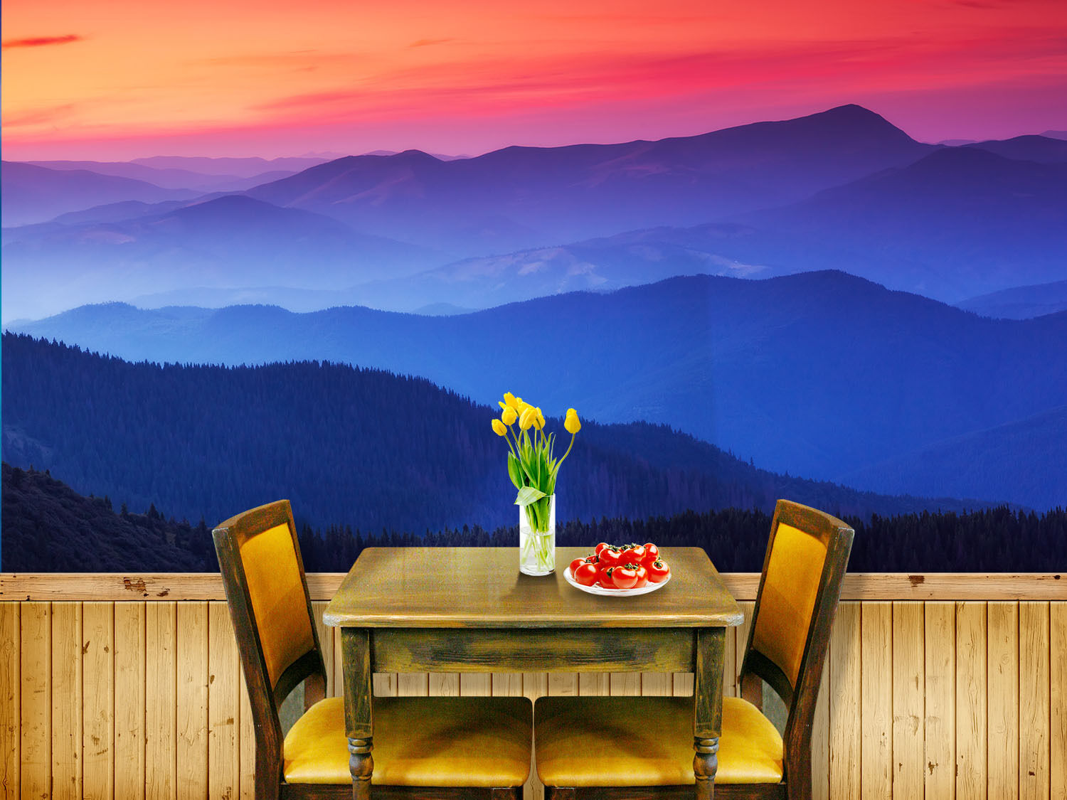 3D Mountain Sunset Glow Wall Paper Wall Print Decal Wall Deco Wall Indoor Murals