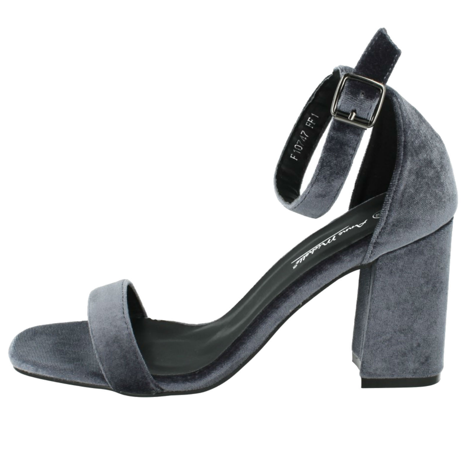 Anne Grey Michelle F10747 Ladies Grey Anne Soft Textile Shoes Block Heels to 8 (29B) 9c3d21