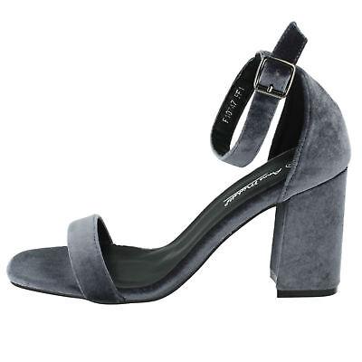 Anne Michelle f10747 mujer gris suave Textil Zapatos tacón en bloque GB 3A 8 (