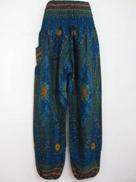 Ladies Smock Harem Pants Bohemian Boho Hippie Aladdin Yoga Genie Trousers HDF-T