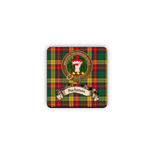 Buchanan Scotland Clan Tartan Motto Crest Rubber Drink Coaster