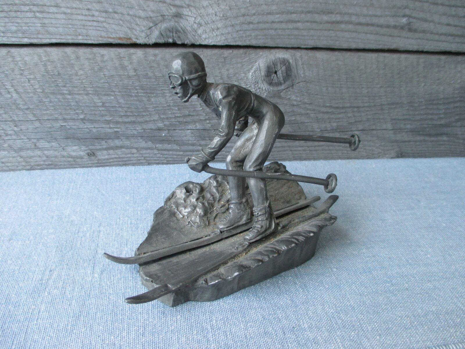 Very detailed vintage Dutch Artil Pewter Skiing figure skier downhill skiing
