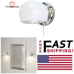 Lighting WESTINGHOUSE 1-Light Chrome Interior Wall Fixture Bathroom Vanity Light White Wall Lights