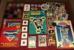 Junk-Drawer-Lot-Collectibles-Mickey-Mantle-Brett-Superman-Misc-10-15-1P
