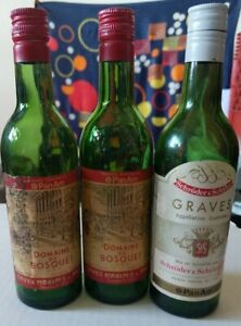 3 Vintage PanAm Wine Bottles Domaine Du Bosquet and Graves Appellation Controlee