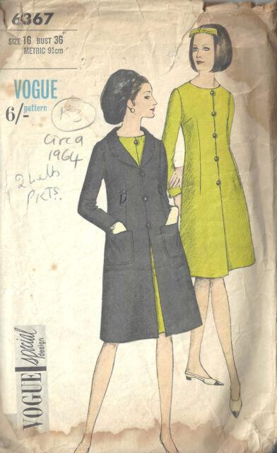 Vogue Vintage Sewing Pattern Misses 1 Piece Dress Coat Size 18 6367