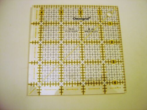 Omnigrid Yellow 4 1//2 inch x 4 1//2 inch Square Ruler for Quilting