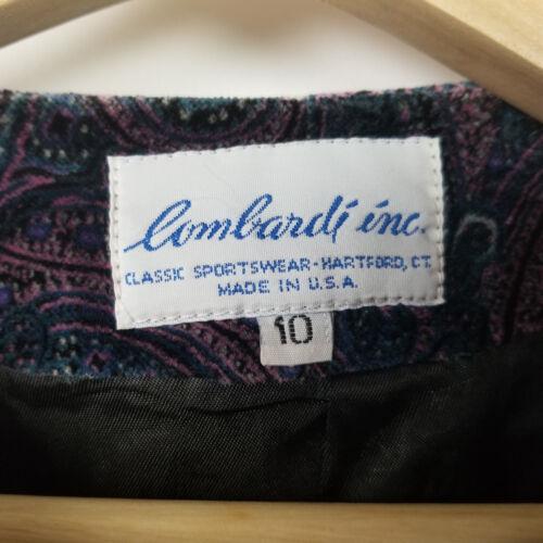 Ouvert Bleu Sur Sz Vtg Violet Inc Paisley 10 Lombardi Veste Velvet Femmes Le a67xTX