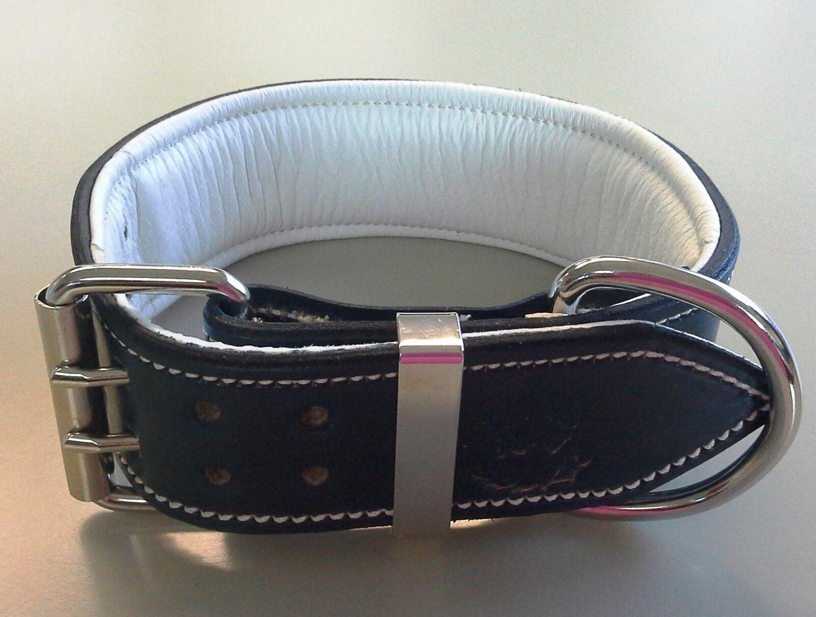 XX-Large Navy Blau Leather Dog Collar with Soft Weiß Weiß Weiß Leather Inner Lining 309030