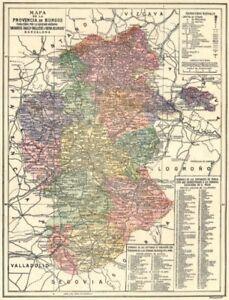 Spain Mapa De La Provincia De Burgos 1913 Old Antique Vintage