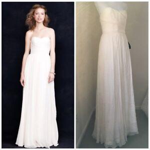 3b7ca90c39ccf J Crew Arabelle Wedding Dress 2 NWT Minimalist grecian-style silk ...