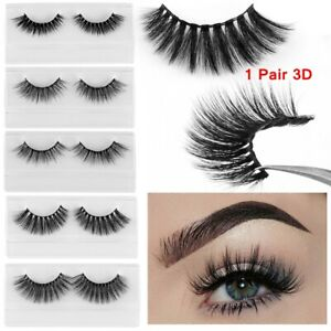dea56f31c0a 1 Pair 25mm 3D Mink Hair False Eyelashes Wispy Long Fluffy Lashes ...