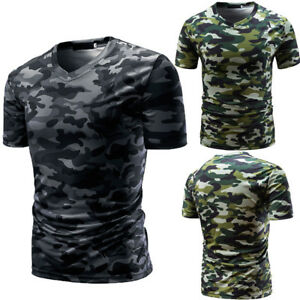 Hot-Men-039-s-Casual-Camouflage-Print-V-Neck-Pullover-Beach-Short-T-shirt-Top-Blouse