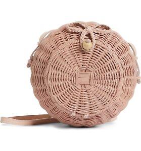 NWT Ulla Johnson Pomme Blush Rattan Wicker Round Ball Crossbody Bag Handbag $295