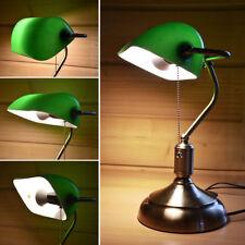 Retro Schreib Tisch-Leuchte-Büro Lese Banker Glas Lampe Jugend Antik Stil Grün