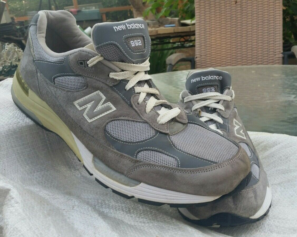 Mens NEW BALANCE Grey Suede Suede Suede Leather 992 Tennis shoes Sneakers Made In USA 15 2E 59a968