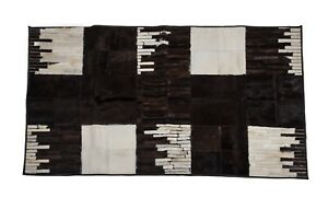 Aydin Mosaic Black White Cowhide Patchwork Area Rug Rectangle 3'9''X6'5''