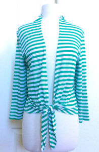 CHICO-039-S-NEW-SIZE-1-M-GREEN-STRIPE-OPEN-FRONT-LONG-SLEE-TIE-JACKET-CARDIGAN