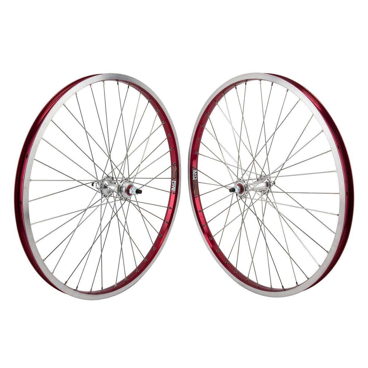 24x1.75 Sun Rhyno Lite Wheels Sealed Flip Flop w  DT Spokes Pair Red