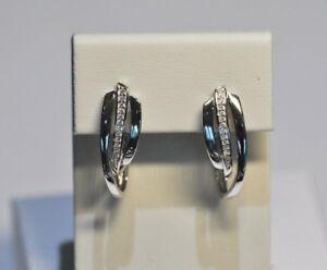 Echt-925-Sterling-Silber-Ohrringe-Creolen-mit-Zirkonia-Hochzeit-Nr-267