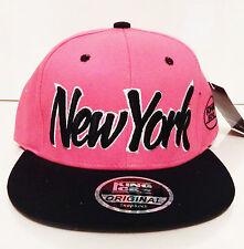 New men womens black hot pink snapback hat dope cap peak baseball NEW YORK logo