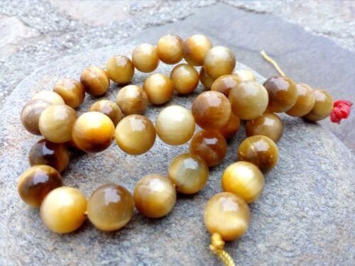 GENUINE 10 mm Golden Round Tiger Eye Beads Beige Brown GRADE AA 1 mm Hole