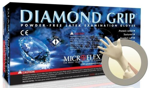 Microflex MF300L Diamond Grip Latex Large Case of 10 Boxes Powder Free Gloves