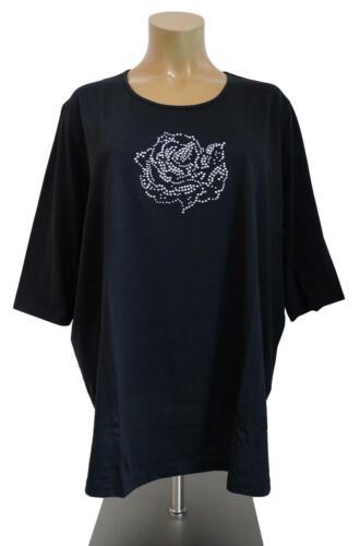 Neuf Grande Taille élégant femmes Shirt en Noir glitzersteine 3//4 Bras Taille 60,66