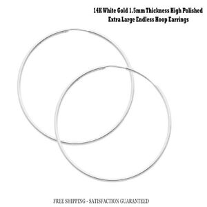 Details About 2 Solid 14k White Gold Endless Hoop Earrings 50mmx1 5mm Y Skinny Thin Hoops