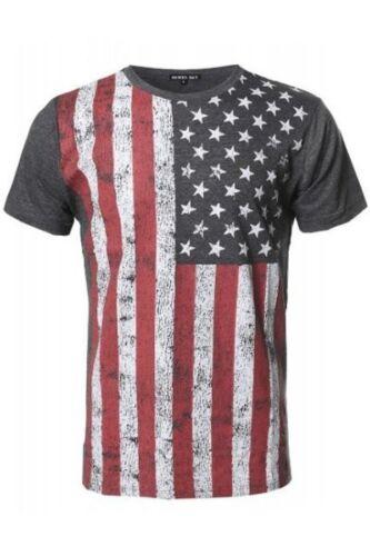 charbon Men/'s Drapeau Américain Graphique T-shirts.