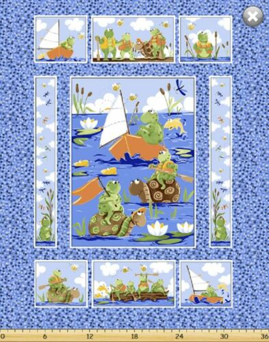 Paul /& Sheldon Fishing Buddies SusyBee Cotton Quilt fabric Toy Cutout Panel Frog