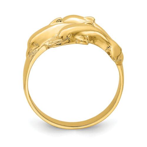 Lex /& Lu 14k Yellow Gold Triple Dolphin Ring Size 6.5