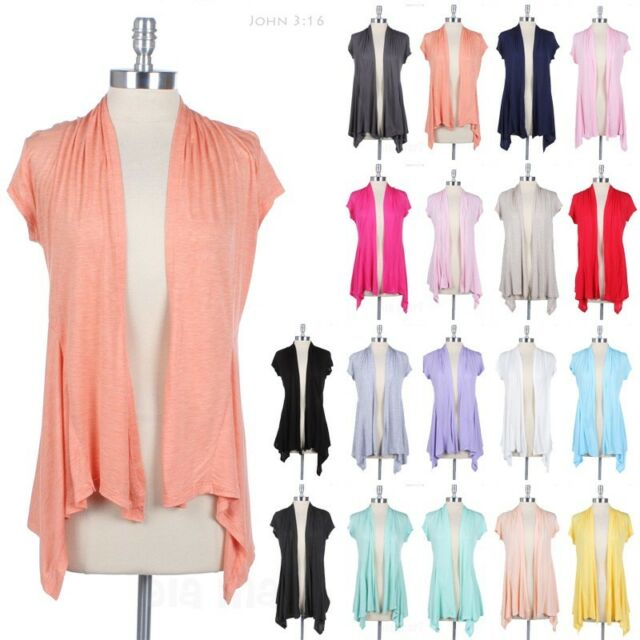 Women's Short Sleeve Open Front Draped Cardigan Solid Plain BASIC RAYON Casual
