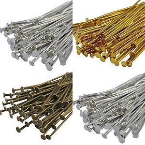 100-Bronze-Gold-SILVER-PLATED-Metal-Flat-HEAD-PINS-Headpins-40-50-60-70MM