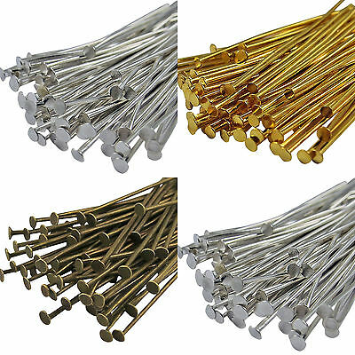 100 Bronze, Gold & SILVER PLATED Metal Flat HEAD PINS - Headpins 40/50/60/70MM