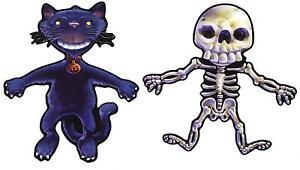 Satz 2x aufkleber fest deko halloween macbook auto katze skelett