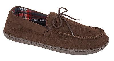 Para Hombre Mocasines Zapatillas Mocasines de piel de oveja de imitación de gamuza Zapatos de Casa de Tartán Forrado