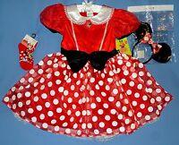 Disney Minnie Mouse Deluxe Costume Dress;girls 4-6x;7-8;headband Ears;socks;nwt