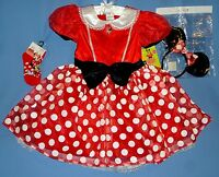 Disney Minnie Mouse Deluxe Costume Dress;girls 4-6x;7-8;headband Ears;socks;nwt