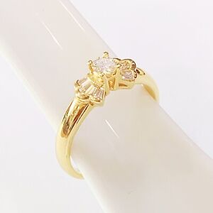20K-Yellow-Gold-Ribbon-design-Diamond-Ring-3-93-Grams-HK-size-13-5