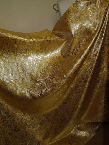"""3Mnew yellow //gold COLOUR PAISLEY METALLIC BROCADE FABRIC 58/"""" WIDE"""