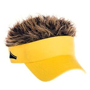 FLAIR HAIR HATS WITH HAIR YELLOW VISOR BROWN HAIR QUALITY SURF SKATE ... c4339eea33f9