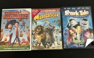Lot of 3 DVD Movies Shark Tale Cloudy With a Chance of Meatballs Madagascar