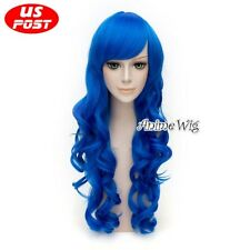 FAIRY TAIL Juvia Loxar Long Curly Royal Blue Women Anime Party Cosplay Basic Wig