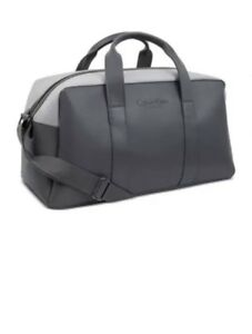49fdf8d72e NWT CALVIN KLEIN fragrances dark gray faux leather duffle bag travel ... calvin  klein