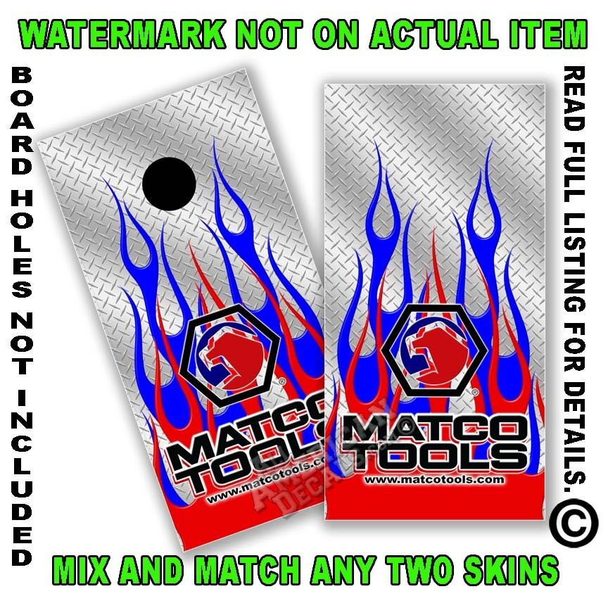 Matco Red bluee Flames Bean Bag Toss Cornhole  Board Decal Wrap Set of 2 Cornhole  up to 42% off