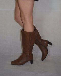 Women Brown Tan Knee High Boots Wide Calf Real Leather Block Heel