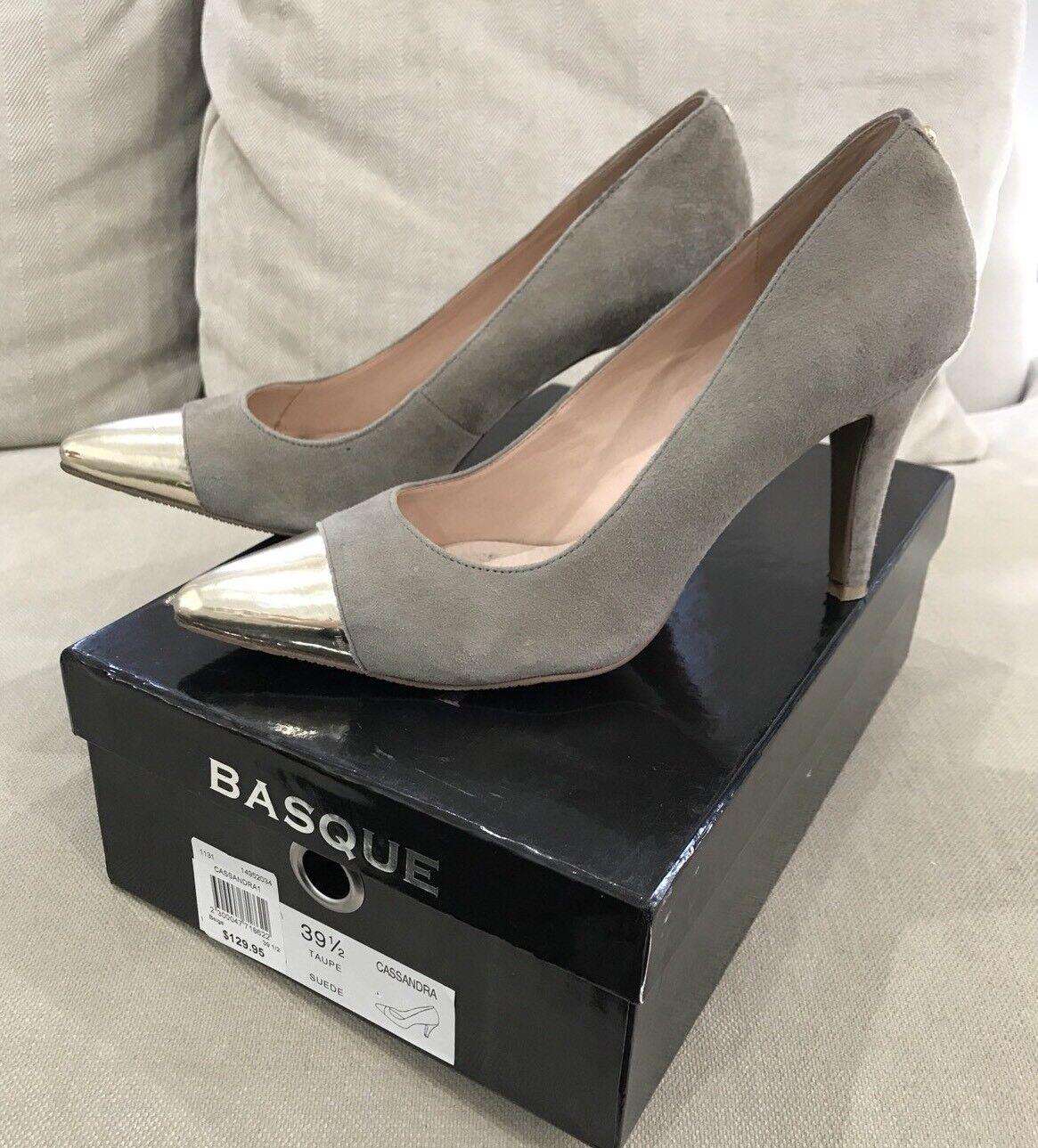 Super Cute BASQUE Beige Suede US Leather Heels Pumps 39.5 US Suede Great Condition 2d5ef2
