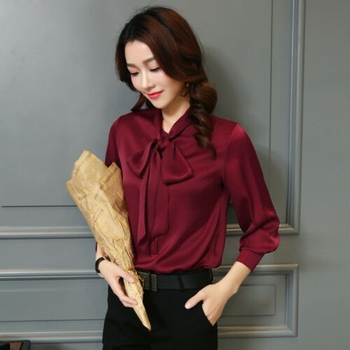 Lady Satin Bow Tie Long Sleeve Shirt Formal Business Imitation Silk Blouse New